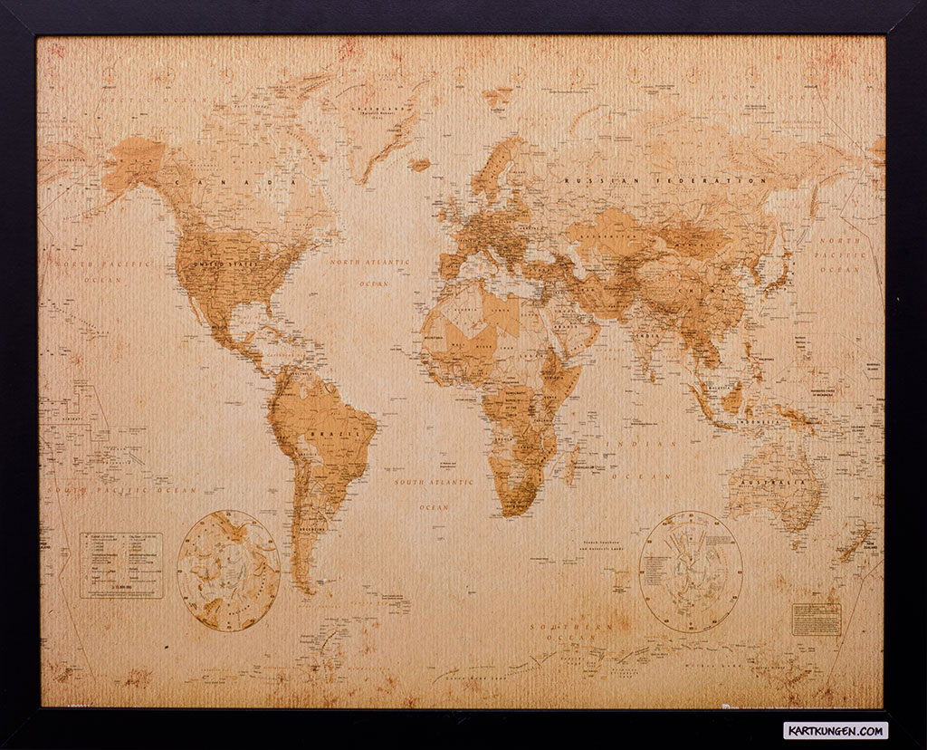 "Small ""Vintage"" World Map - Pinboard King"