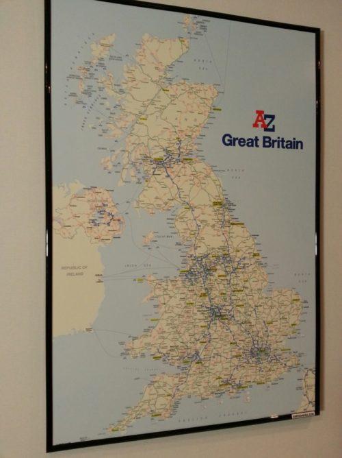 Väggkarta över England för markering med nålar