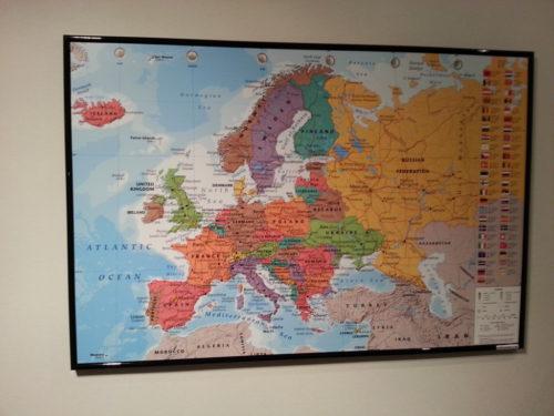 Karta över Europa för nålmarkering