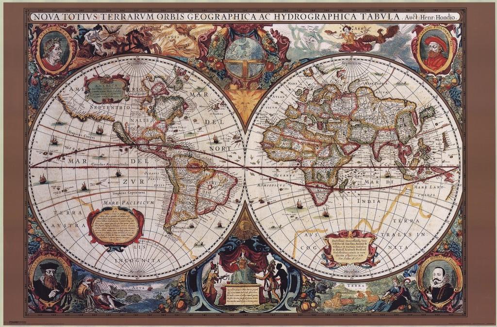 tavla med karta Stor världskarta 17 th century   Kartkungen tavla med karta