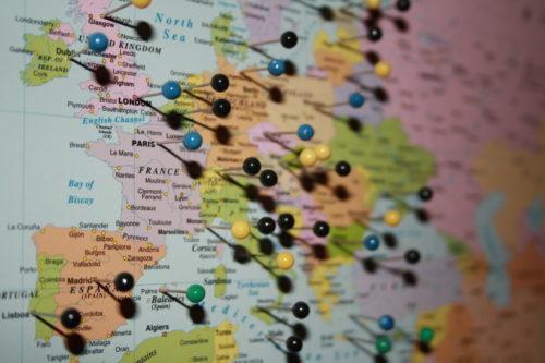 Karta för nålmarkering för väggen