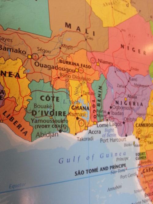 Inramad karta över Afrika för markering med kartnålar. Mali, Niger, Nigeria, Ghana - Kartkungen