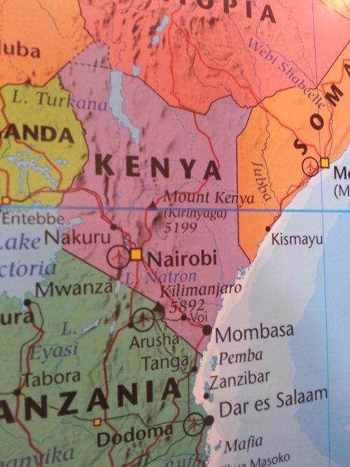 Inramad karta över Afrika för markering med kartnålar. - Kartkungen