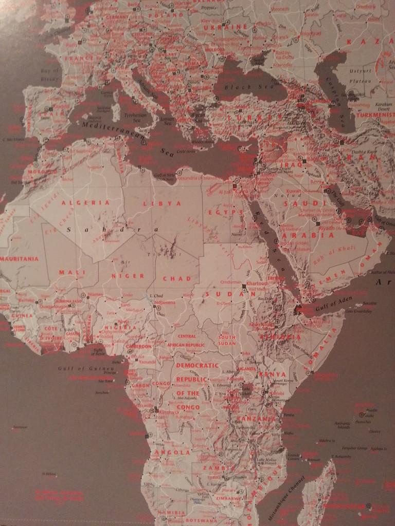 big red grey world map