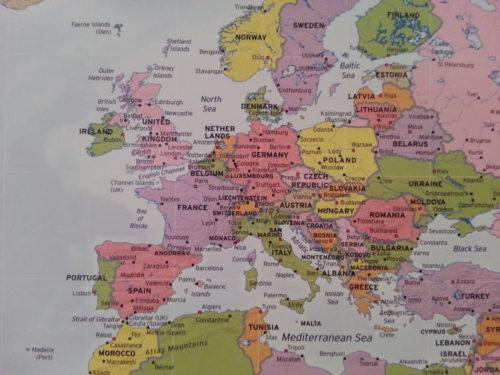 Stor världskarta political wall karta för nålmarkering Europa