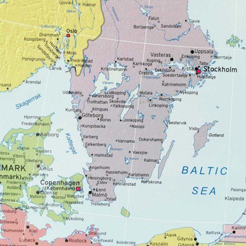 Karta europa för markering med nålar