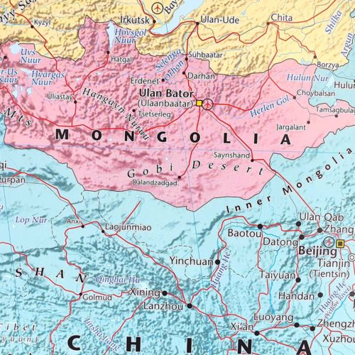 Stor väggkarta över Asien Kina för markering med kartnålar