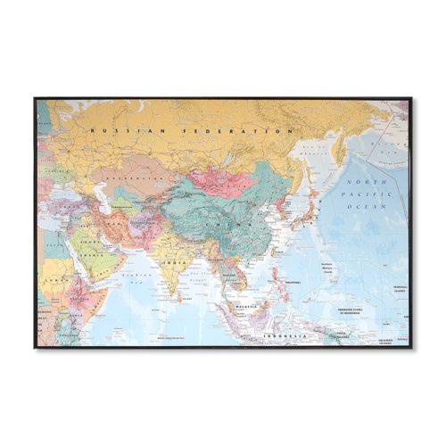Stor väggkarta över Asien för markering med kartnålar