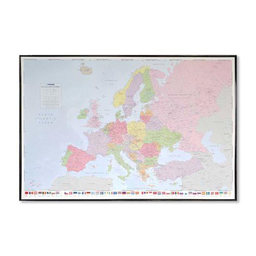 Stor väggkarta politisk över Europa för markering med kartnålar