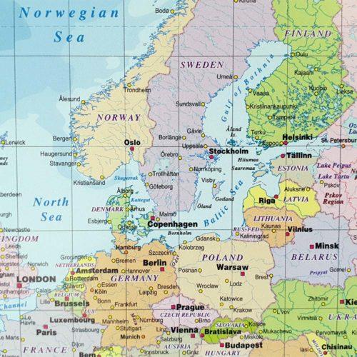 Stor världskarta Politisk för markering med nålar (2)