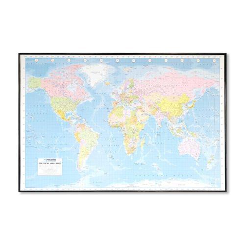 Stor världskarta Politisk för markering med nålar