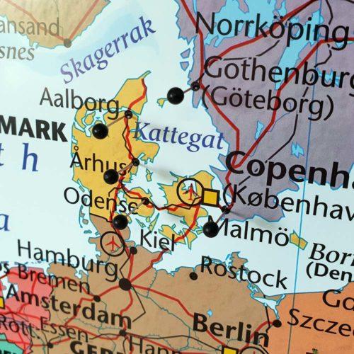 karta över europa för markering med kartnål