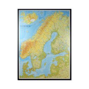 Stor karta över Norden och Baltikum för väggen för markering med nålar Kartkungen kartor för nålar