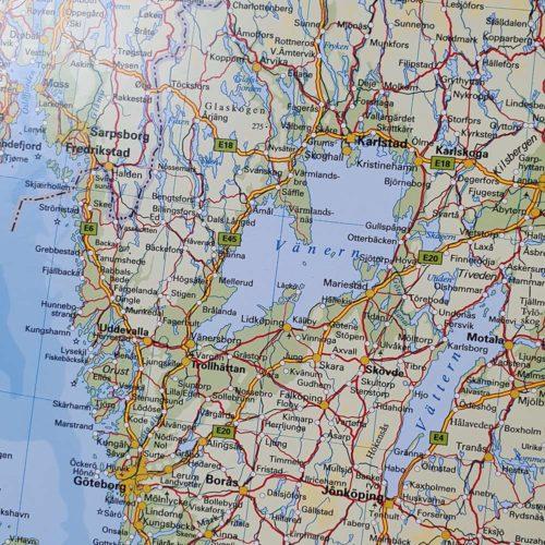 Karta över Norden och Baltikum Västra götaland där du kan markera dom länderna du rest till med nålar. Kartkungen