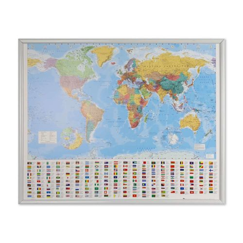 Världskarta för nålar klassisk-vit-ram
