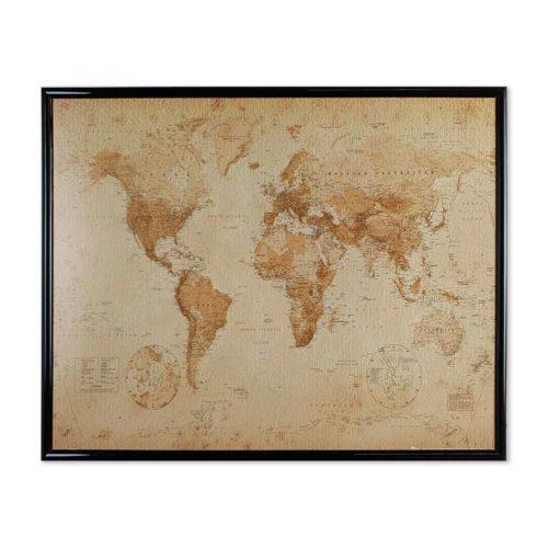 Världskarta-vintage-nålmarkering-svart-ram