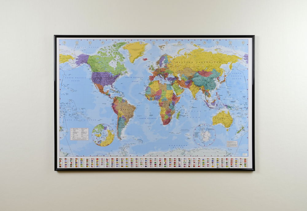 Big Classic World Map Pinboard King