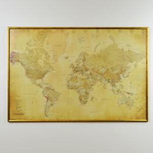 Världskarta Vintage för markering med nålar