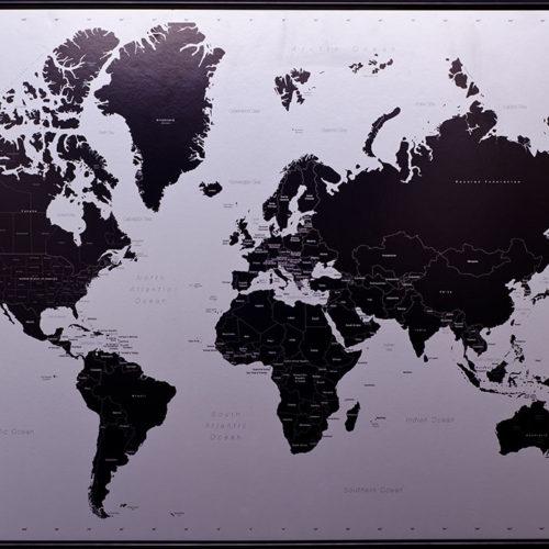 Big Modern World Map Pinboard King - Big black and white world map