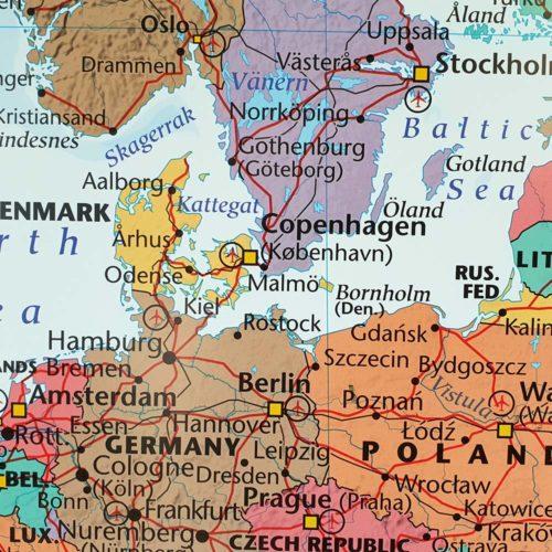 väggkarta europa för nålar