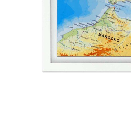 Europakarta för vägg med vitram