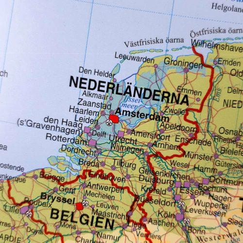 Väggkarta Europa för markering med nålar Nederländerna Belgien