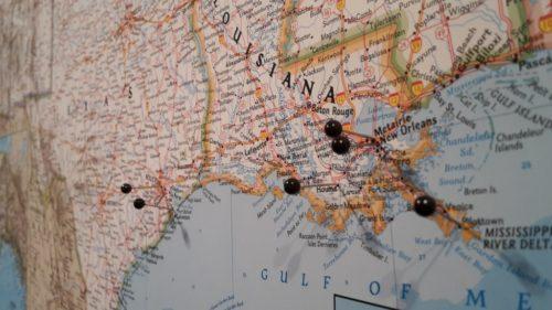 Karta för vägg över USA med nålar