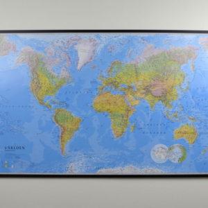 Stor världskarta världen för markering med nålar. skolkarta för vägg Kartkungen