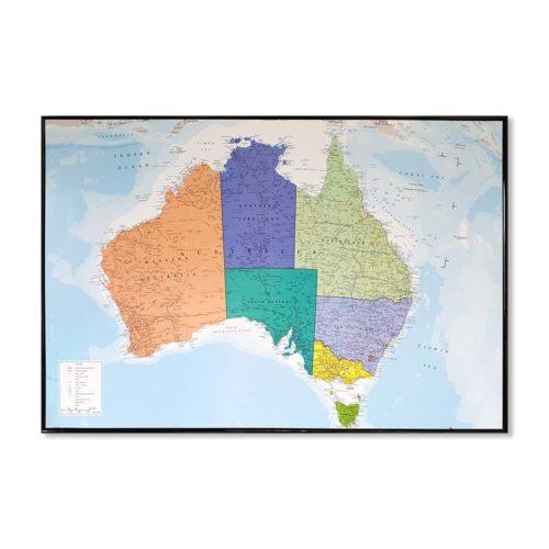 Stor karta över Australien för väggen med nålmarkering