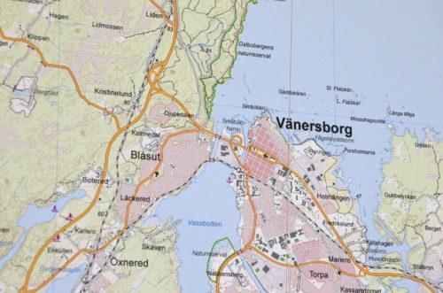 Karta över Vänersborg 100x140 cm - För nålmarkering - Kartkungen