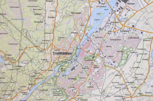 Karta över Trollhättan 100x140 cm - För nålmarkering - Kartkungen