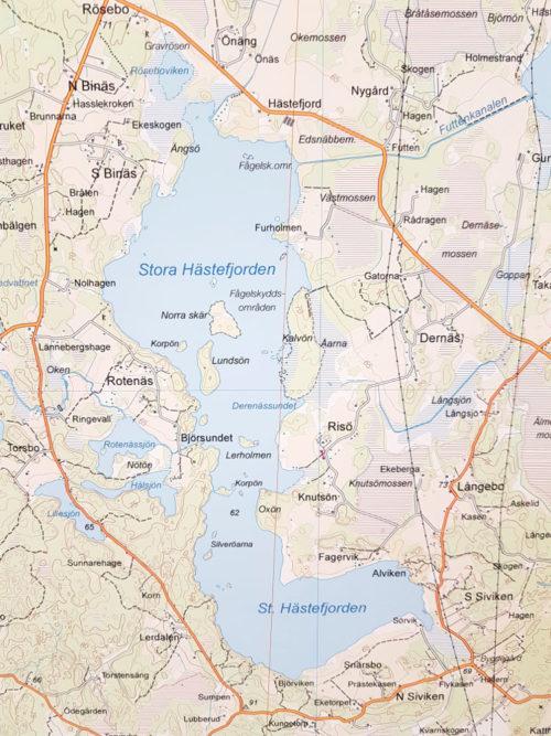 Karta över Stora Hästefjorden, Vänersborg 100x140 cm - För nålmarkering - Kartkungen