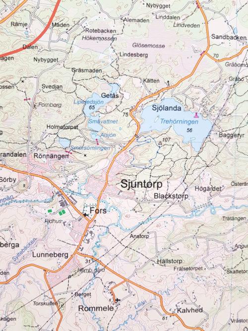 Karta över Sjuntorp, Trollhättan 100x140 cm - För nålmarkering - Kartkungen