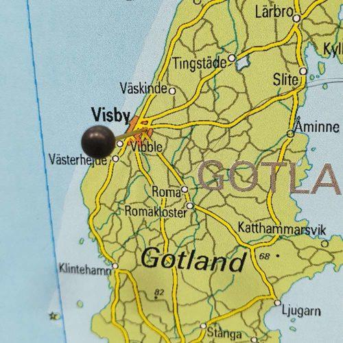 Karta över sverige (Gotland) för nålar