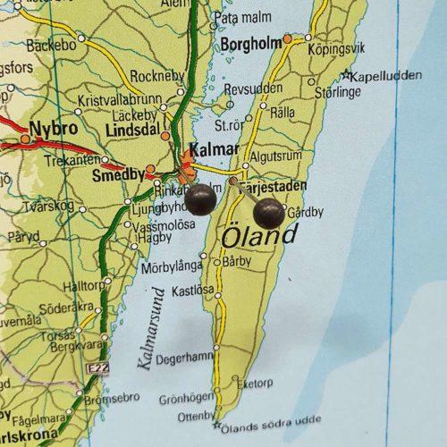 Karta över sverige (Öland) för nålar