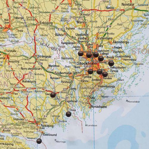 Karta över sverige (Stockholm) för nålar