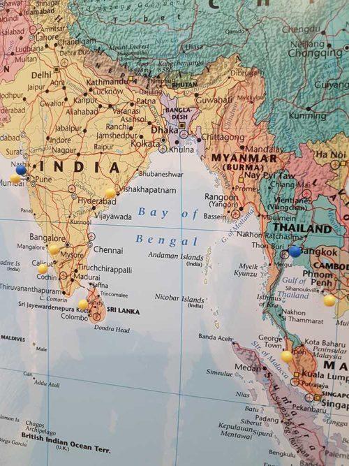 karta för markering med kartnålar