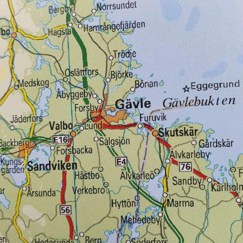 Sverigekarta utan ram gävle