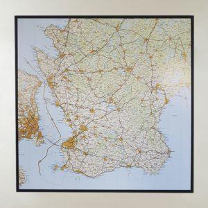 stor karta över Skåne för vägg och markering med nålar