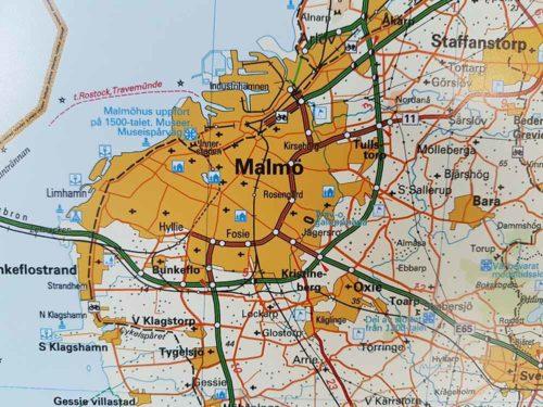 Karta över Skåne Malmö för markering med nålar Kartkungen