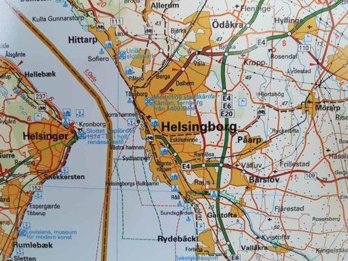 Karta över Skåne Helsingborg för markering med nålar. Skolkarta över Skåne Kartkungen