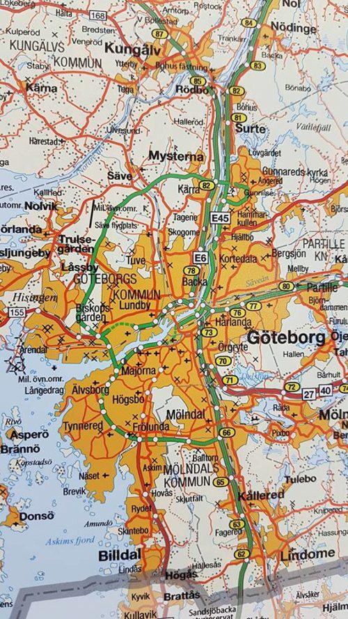 Väggkarta över Västra Götalands län. Göteborg För markering med kartnålar Svart ram Kartkungen