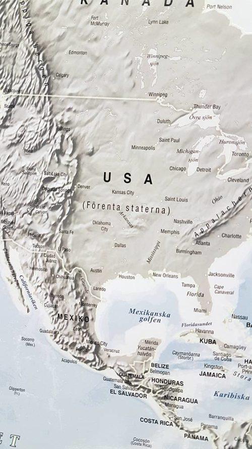karta över världen USA Självlysande