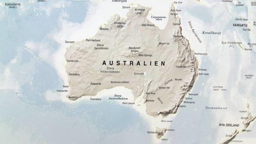 världskarta självlysande Australien