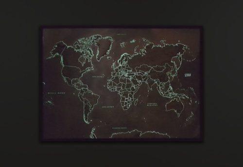Stor världskarta självlysande