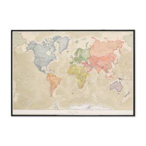 Världskarta för vägg Antik 100x70 cm Svart ram Där du kan markera med nålar vart du har varit. Passar lika bra i hemmet som på kontoret eller företaget Kartkungen