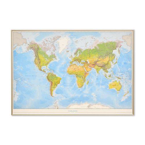 Världskarta Världen Fysisk 70x100 cm Silver ram. För markering med nålar