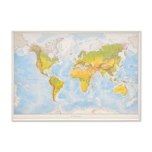 Världskarta Världen Fysisk 70x100 cm Vit ram. För markering med nålar. För hemmet, kontoret eller företaget Kartkungen
