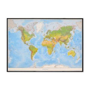 Världskarta Världen Fysisk för markering med nålar 70x100 cm Svart ram. Kartkungen