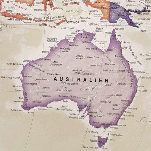 Världskarta för vägg Antik 100x70 cm Australien Där du kan markera med nålar vart du har varit. Passar lika bra i hemmet som på kontoret eller företaget Kartkungen